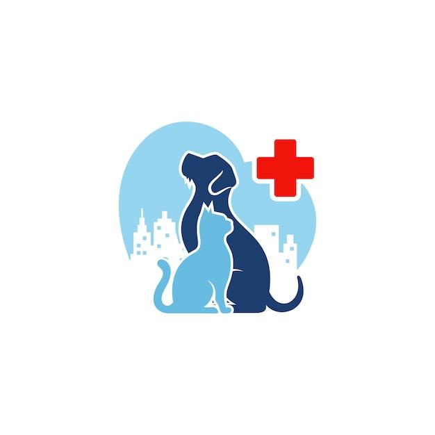 Dog cat logo template veterinaria Vector Premium