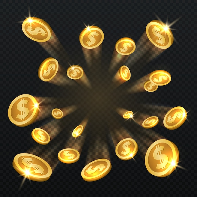 Dólar de oro monedas explosión aislada. ilustración vectorial para el concepto de finanzas y juegos de azar. moneda de oro dólar y fortuna financiera Vector Premium