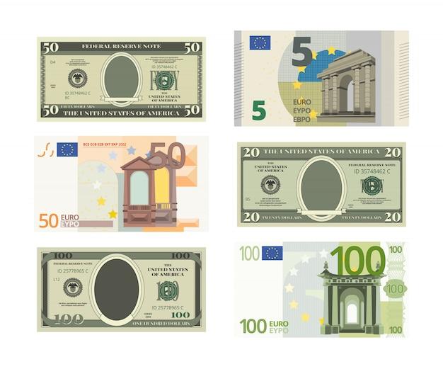 Dólares falsos y euro. Vector Premium