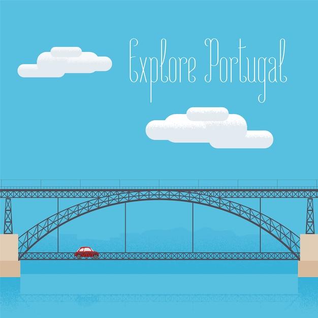 Dom luis puente en oporto, portugal ilustración vectorial Vector Premium