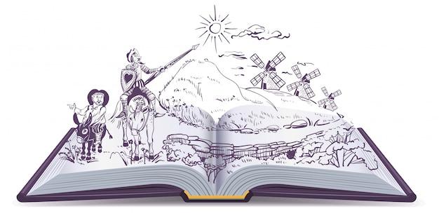 Don quijote libro abierto ilustración de dibujos animados de vectores Vector Premium