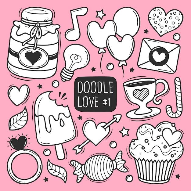 Doodle de amor dibujado a mano vector gratuito