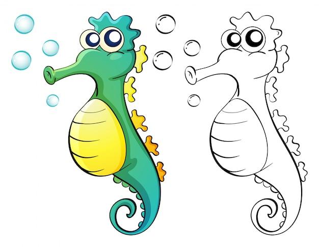 Doodle animal para caballito de mar vector gratuito