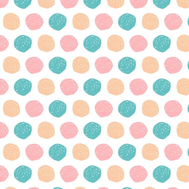 Doodle círculos patrón fondo dibujado a mano vector gratuito
