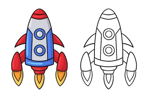Doodle cohete espacial de dibujos animados. Vector Premium
