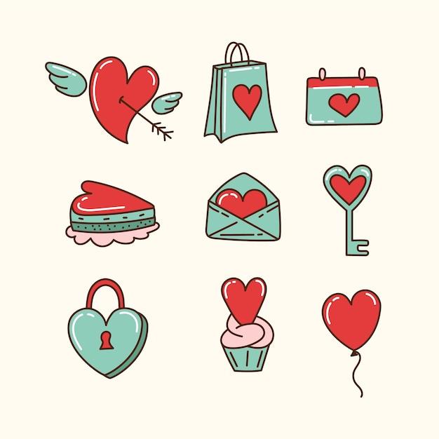 Doodle colección de elementos del día de san valentín vector gratuito