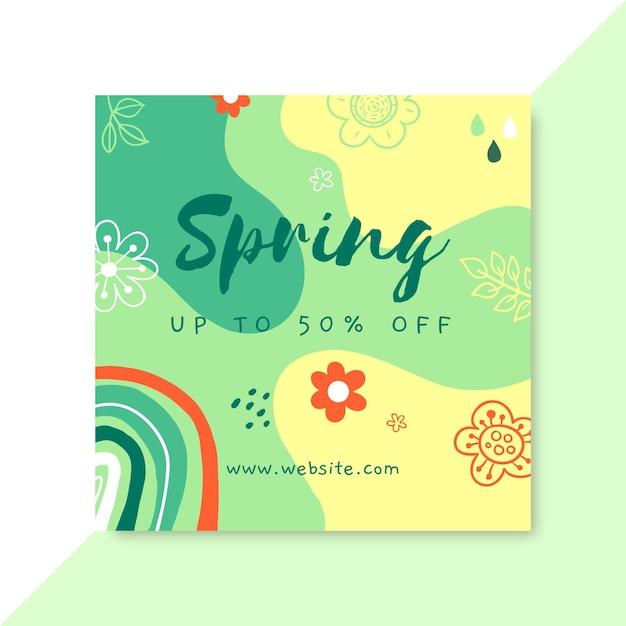 Doodle colorido primavera publicación de instagram de facebook vector gratuito