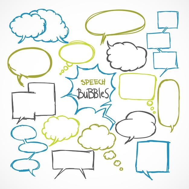 Doodle comic discurso burbujas conjunto vector gratuito