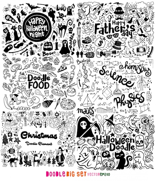 Doodle conjunto grande, dibujado a mano ilustración de doodle Vector Premium