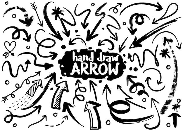 Doodle conjunto de objetos de dibujo a lápiz. dibujado a mano flechas abstractas grunge. Vector Premium