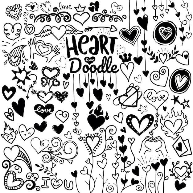Doodle del corazón Vector Premium