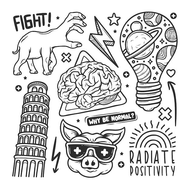 Doodle dibujado a mano pegatinas vector gratuito