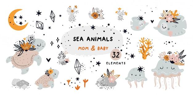 Doodle de dibujos animados con animales marinos y elementos de arrecife de coral Vector Premium