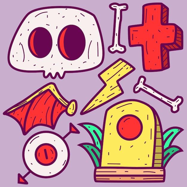 Doodle de dibujos animados de halloween Vector Premium