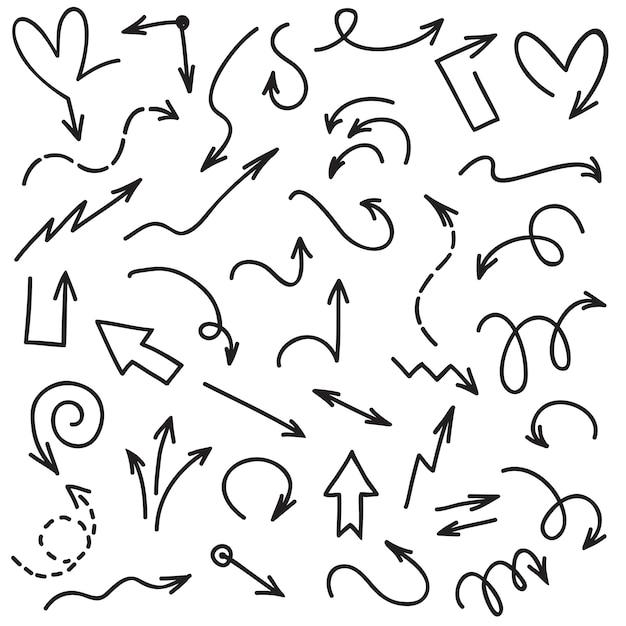 Doodle flechas escritura a mano garabatear puntas de flecha de línea de boceto. flecha aislada en el conjunto de vectores de fondo blanco Vector Premium