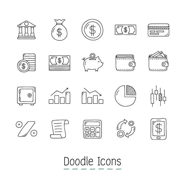 Doodle iconos financieros. vector gratuito