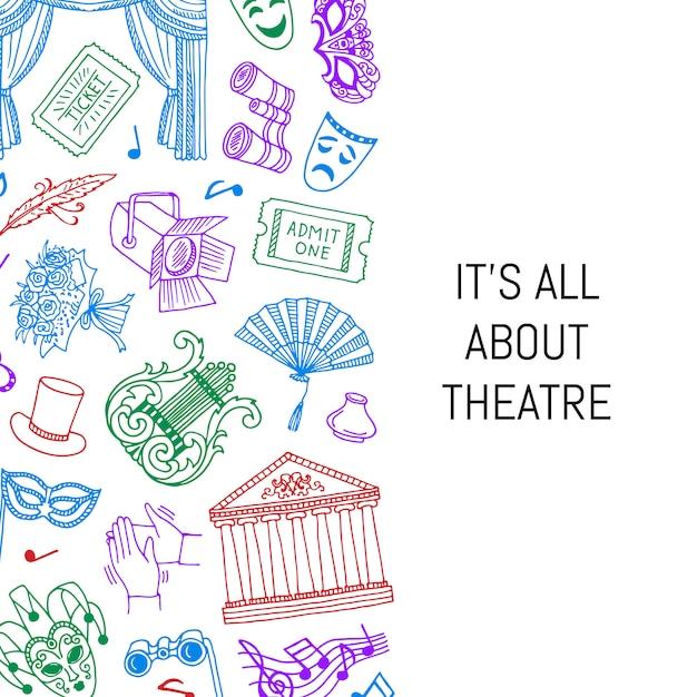 Doodle ilustración de fondo de elementos de teatro con lugar para el texto Vector Premium