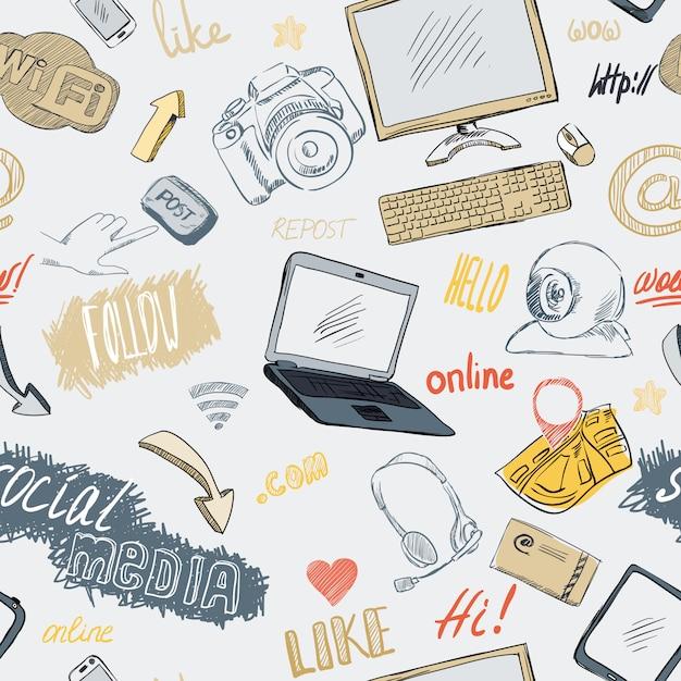 Doodle inconsútil patrón de redes sociales vector gratuito