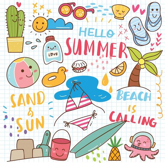 Doodle de kawaii de verano Vector Premium