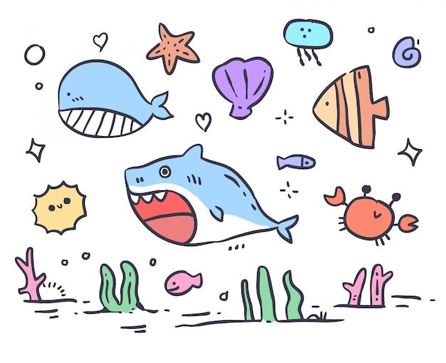 Doodle de mar animal dibujado a mano Vector Premium