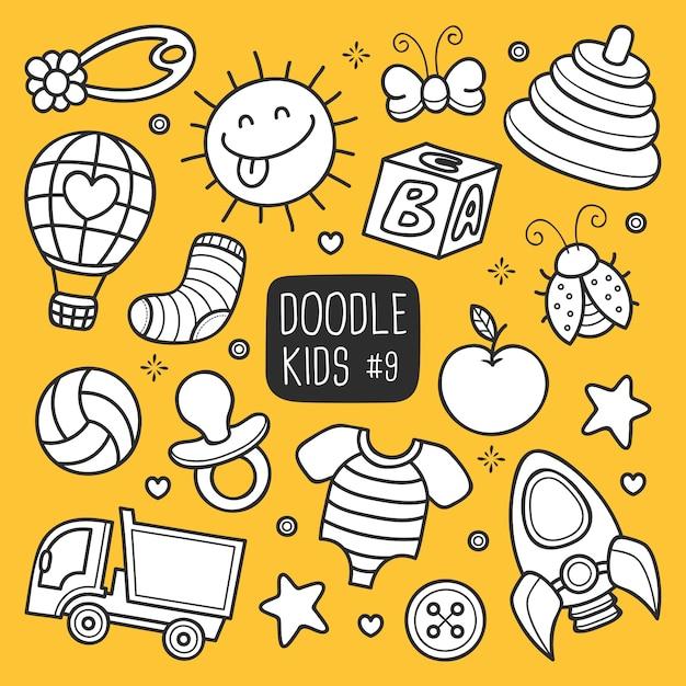 Doodle de niños dibujados a mano vector gratuito