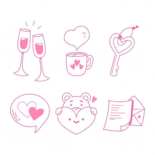 Doodle paquete de elementos del día de san valentín vector gratuito