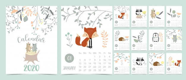 Doodle pastel bosque calendario set 2020 con zorro Vector Premium