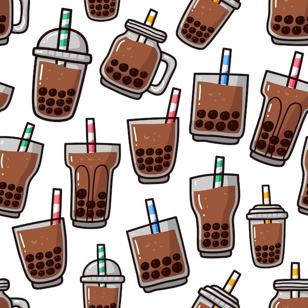 Doodle de patrones sin fisuras de la bebida de té de burbujas boba. Vector Premium