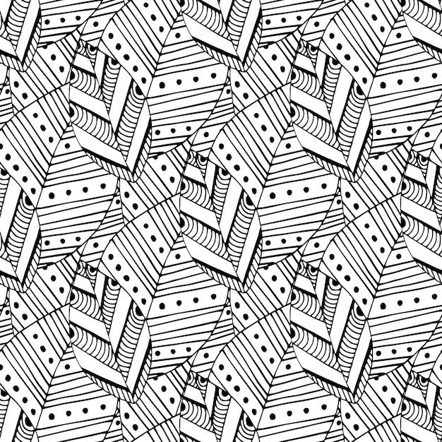 Doodle de patrones sin fisuras con hojas étnicas. muestras creativas ...