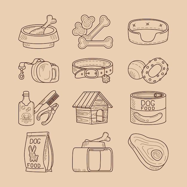 Doodle de perro señales de comida y juguetes. Vector Premium