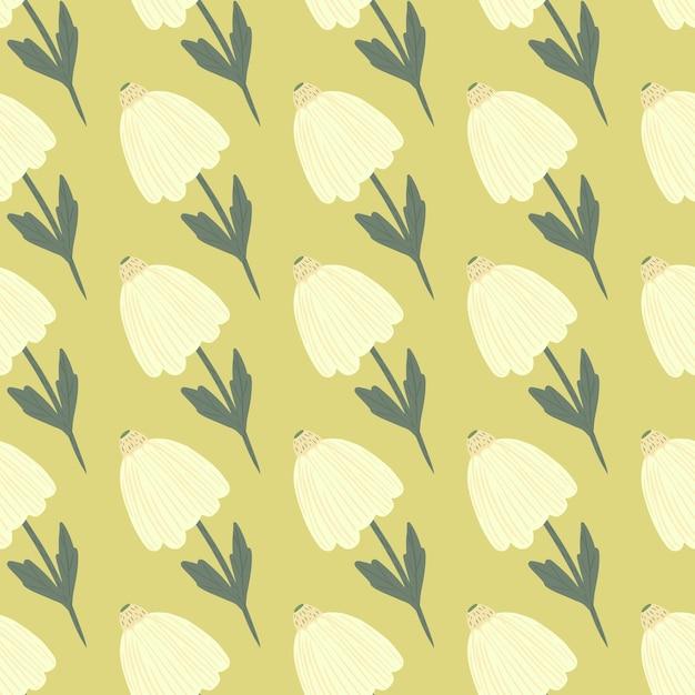 Doodle simple flores blancas de patrones sin fisuras. fondo amarillo. estampado botánico estilizado. diseñado para papel tapiz, textil, papel de regalo, estampado de tela. . Vector Premium