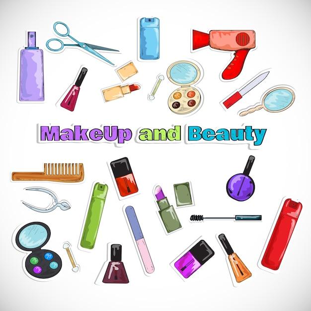 Doodles del salón de belleza vector gratuito