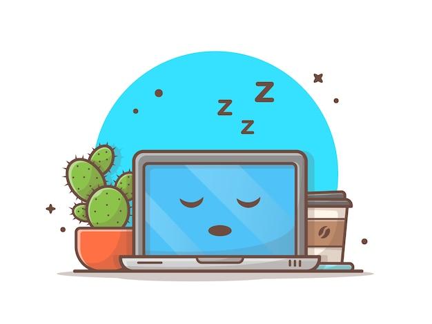 Dormir portátil con cactus y café vector icono ilustración Vector Premium