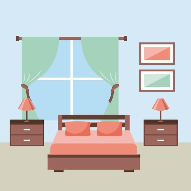 Dormitorio con ventana de marco de lámpara de mesita de noche de ...