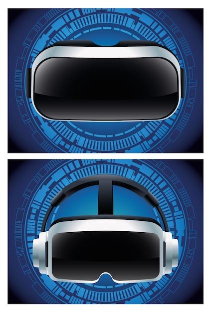 Dos accesorios de máscaras de realidad virtual con fondo azul. Vector Premium