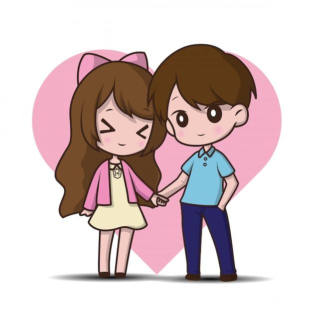 Dos amantes lindos, ilustración de dibujos animados. Vector Premium