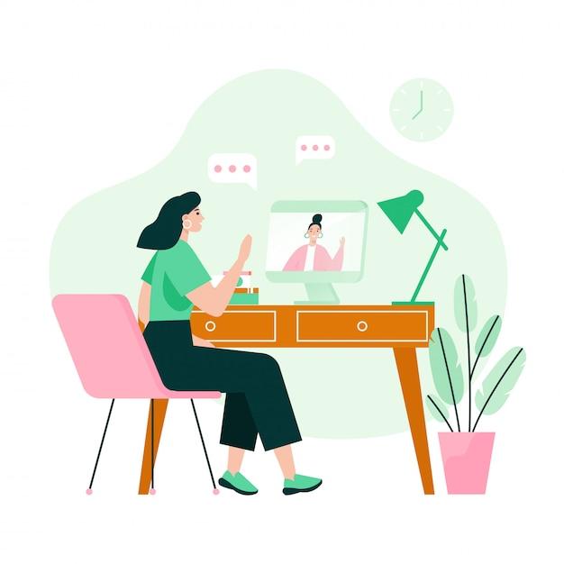 Dos amigos en una reunión de video. concepto de video llamada. ilustración de vector plano Vector Premium