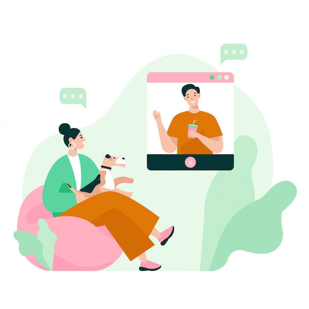 Dos amigos en una reunión de video. videoconferencia, trabajo desde casa, distanciamiento social, discusión de negocios. ilustración de vector plano Vector Premium
