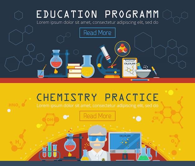 Dos banners horizontales de química vector gratuito