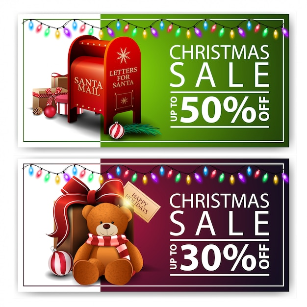 Dos banners de navidad con descuento Vector Premium