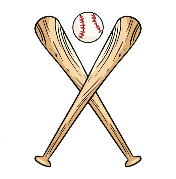 Dos bates de béisbol cruzados y pelota, logo deportivo de icono. Vector Premium