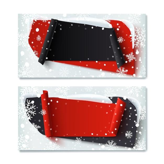 Dos, en blanco, black friday, plantillas de vales de regalo de invierno, con pancartas abstractas, nieve y copos de nieve. Vector Premium