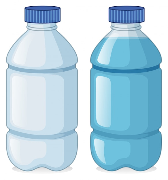 Dos botellas con y sin agua vector gratuito