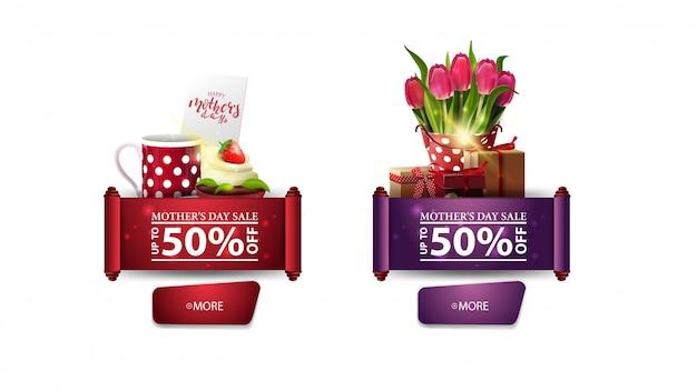 Dos carteles modernos de descuento para el día de la madre con botones. Vector Premium
