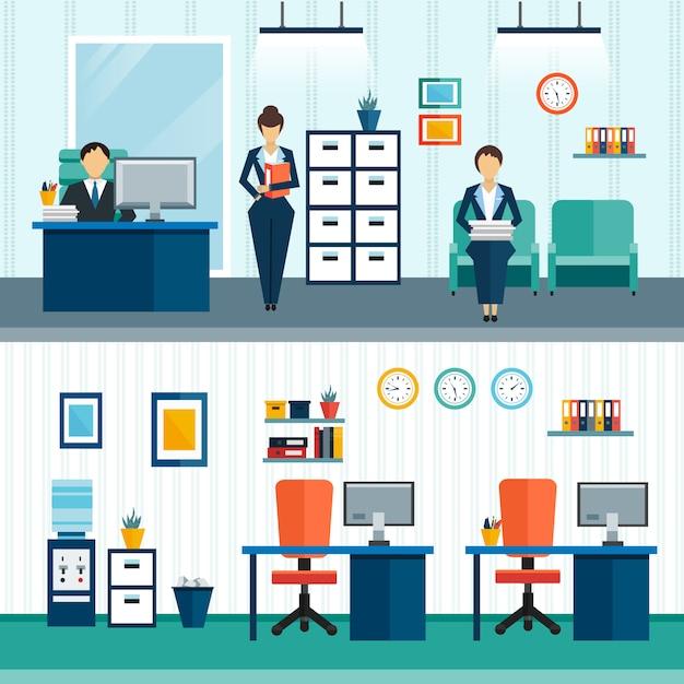 Dos composiciones interiores de oficina con mobiliario interior en la oficina y disposición de muebles. vector gratuito