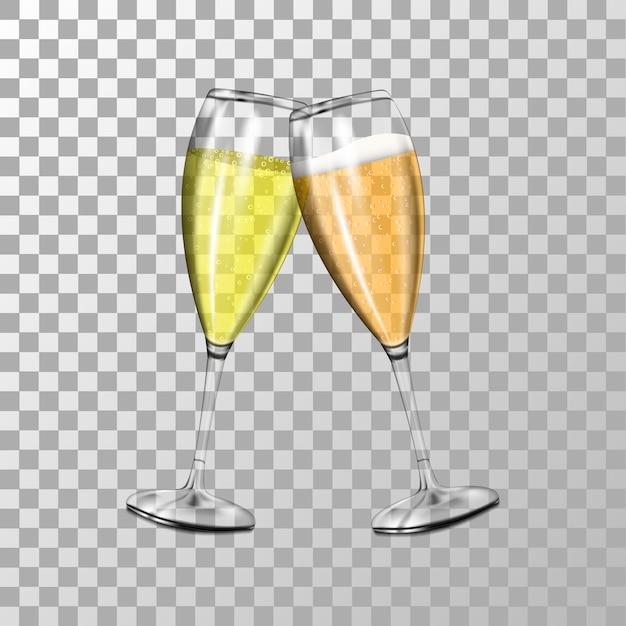 Dos copas de champán realistas con burbujas de aire, copa de champán con espuma Vector Premium