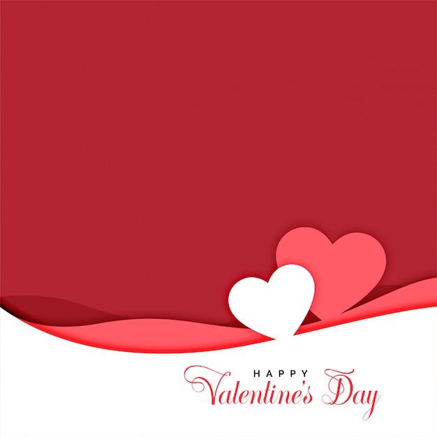 Dos corazones en papercut estilo día de san valentín saludo vector gratuito