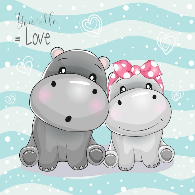 Dos dibujos animados de hipopótamos lindos sobre fondo de rayas Vector Premium