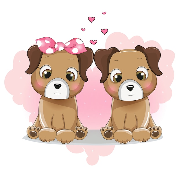 Dos dibujos animados lindo cachorro en el corazón de fondo Vector Premium