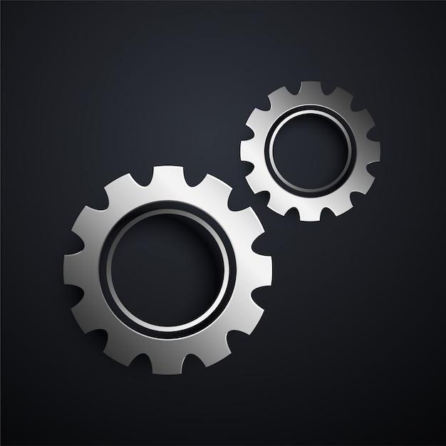 Dos engranajes metálicos que fijan el fondo vector gratuito